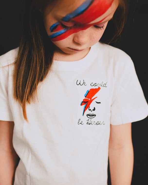 WE COULD BE HEROES' EMBROIDERED KIDS T-SHIRT